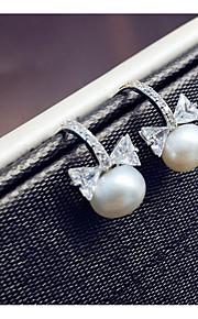 Ikke-sten Store øreringe Smykker Dame Daglig Afslappet Perle 1 par Sølv