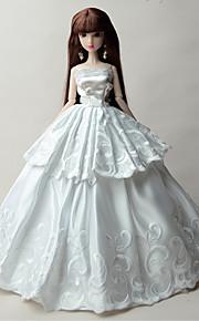 파티/이브닝 드레스 에 대한 바비 인형 화이트 솔리드 드레스 용 여자의 인형 장난감