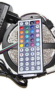 5m 3528 300 smd IP44 rgb ac 100-240V med 44 tasters fjernkontroll 12V 3a strømskinne lys sett