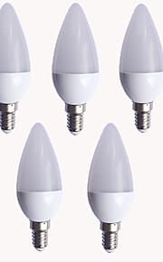 5W E14 LED 캔들 조명 C37 10 SMD 2835 450 lm 따뜻한 화이트 차가운 화이트 AC 220-240 V 5개