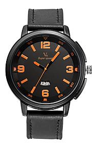 V6®  Men's Fashion Watch Quartz / PU Band Casual Black Brand