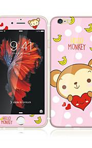 アップルのiPhoneのための6S / 6ソフトエッジフルスクリーン・カバレッジ・フロントスクリーンプロテクターとバックプロテクター猿の漫画のパターンで4.7強化ガラス