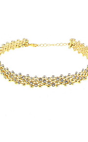 Necklace Rhinestone Choker Necklaces Jewelry Daily Casual Others Euramerican Fashion Personalized Alloy Rhinestone 1pc Gift Yellow Gold