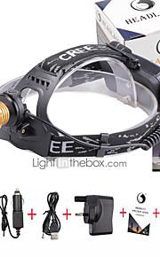 Lanternas de Cabeça LED 3000 Lumens 4.0 Modo Cree XP-E R2 18650.0 Foco Ajustável Tamanho Compacto Detector de FalsificaçõesCampismo /