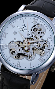 Masculino Relógio Esqueleto relógio mecânico Automático - da corda automáticamente Couro Legitimo Banda Preta