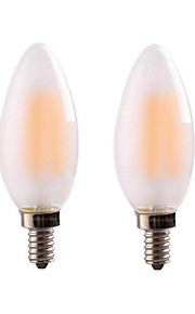 4W E14 E12 LED필라멘트 전구 CA35 4 COB 400 lm 따뜻한 화이트 밝기 조절 AC 220-240 AC 110-130 V 2개