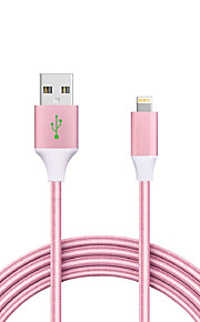 USB 2.0 Kręcone Normalny/a Kable Na Apple iPhone iPad 120 cm Metal Nylon Aluminum