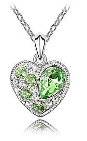 Dame Halskædevedhæng Krystal Kærlighed Hjerte Euro-Amerikansk Mode Personaliseret Lilla Rød Lyseblå Lys Grøn Smykker For Bryllup Fest1