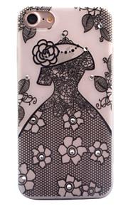 För Strass Självlysande Frostat Genomskinlig Mönster fodral Skal fodral Spetsdesign Sexig kvinna Mjukt TPU för AppleiPhone 7 Plus iPhone