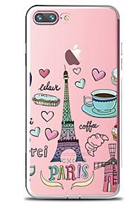 För Genomskinlig Mönster fodral Skal fodral Mat Eiffeltornet Mjukt TPU för AppleiPhone 7 Plus iPhone 7 iPhone 6s Plus iPhone 6 Plus