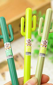 12 PCS Cactus Gel Pen Pen Gel Pens PenPlastic Barrel Black Ink Colors For School Supplies Office Supplies