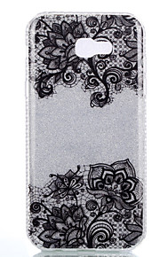 For Samsung Galaxy A3(2017) A5(2017) Double IMD Case Back Cover Case Black Bottom Flower Pattern Soft TPU A7(2017)