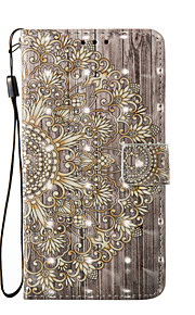 For Samsung Galaxy A3 A5 (2017) Case Cover Golden Flower Pattern Glare 3D Dimensional Glossy PU Material Stent Card Holster A3 A5 (2016)