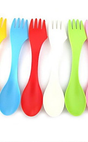 6 PCS Set 3 in 1 Plastic Dinner Fork Sugar Spoon Spoons Forks Knives