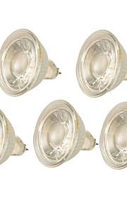 5W GX5.3 LED-spotpærer MR16 1 COB 500LM lm Varm hvit Kjølig hvit Dimbar Dekorativ AC 220-240 V 5 stk.