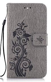Til Lommebok Kortholder med stativ Flipp Inngravert Mønster Etui Heldekkende Etui Blomst Hard PU-lær til HuaweiHuawei P9 Lite Huawei P8