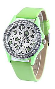 לנשים שעוני אופנה קווארץ עור להקה יום יומי ירוק ורוד ירוק ורוד
