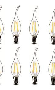 3.5 E14 LED-lysestakepærer CA35 4 COB 400 lm Varm hvit Dekorativ AC 220-240 V 8 stk