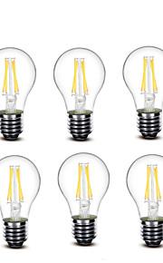 3.5 E27 LED-glødepærer A60(A19) 4 COB 400 lm Varm hvit Dekorativ AC220 AC230 AC240 V 6 stk.