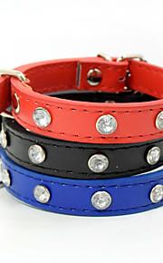Il collare diy fornisce il rhinestone solido registrabile / ritrattabile del cuoio del cuoio del cuoio nero blu nero