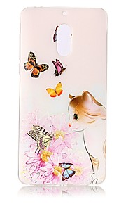 Para Carcasa Funda Transparente En Relieve Diseños Cubierta Trasera Funda Gato Flor Mariposa Suave TPU para Nokia Nokia 6
