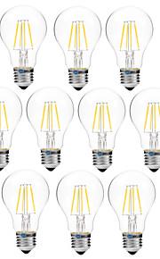 4W Lampadine LED a incandescenza A60(A19) 4 COB 300 lm Bianco caldo Bianco Oscurabile V 10 pezzi
