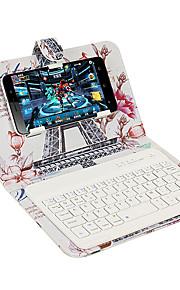 키보드 플립 패턴 전신 케이스와 스탠드 케이스 커버 유니버셜 아이폰 7 7 플러스 6s 6 블루투스 키보드에 대한 에펠 탑 하드 PU 가죽