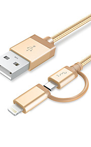 Lightning Micro USB All-In-1 Flätad 1 till 2 Kabel Till iPhone iPad Huawei Xiaomi cm Aluminum Nylon
