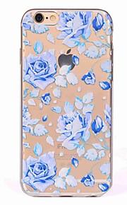 아이폰 7 플러스 7 케이스 커버 반투명 패턴 다시 커버 케이스 블루 로즈 부드러운 tpu iphone 6s plus 6 5s 5 se