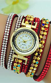 여성용 팔찌 시계 석영 라인석 가죽 밴드 보헤미안 블랙 화이트 레드 브라운 네이비 로즈