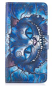 애플 아이폰 7 7 플러스 아이폰 6s 6 플러스 아이폰 5s 5 케이스 커버 블루 고양이 패턴 pu 가죽 케이스