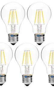 4W Lampadine LED a incandescenza A60(A19) 4 COB 300 lm Bianco caldo Bianco Oscurabile V 5 pezzi