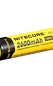 2stk nitecore nl1826 2600mAh 3.7v 9.6wh 18650 li-ion genopladeligt batteri