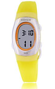 Mulheres Relógio Esportivo Digital Impermeável Borracha Banda Preta Rosa Amarelo
