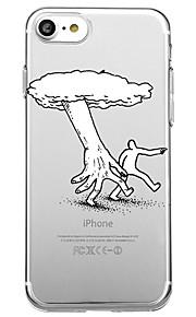Voor iphone 7 plus 7 case cover milieuvriendelijke cartoon transparante patroon back cover case lijnen / golven cartoon soft tpu voor