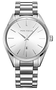 Homens Relógio de Moda Colar com Relógio Quartzo Aço Inoxidável Banda Casual Preta Prata