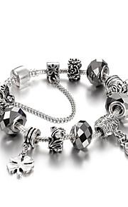4 Cololr Fashion Heart Women's Beaded Charm Bracelet Strand Bracelet Friendship Crystal Silver Plated Ball Jewelry