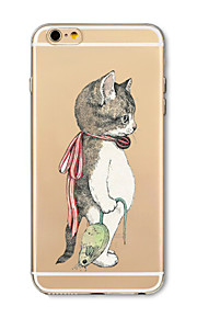 Hoesje voor iphone 7 plus 7 hoesje transparant patroon achterhoes hoesje katten vangen muizen soft tpu voor iphone 6s plus 6 plus 6s 6 se