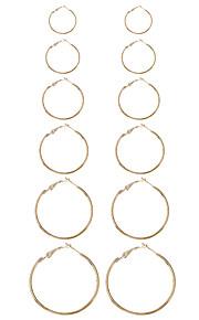 1Set Women's Earring Back Hoop Earrings Earrings Set Geometric Circle Euramerican Fashion Punk Ferroalloy Metallic Alloy Circle Geometric