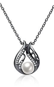 Dame Kort halskæde Halskædevedhæng Kvadratisk Zirconium Imiteret Perle Geometrisk form Imiteret Perle Zirkonium Plastik SølvbelagtEnkelt