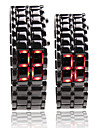 Black Metal bande numerique de lave de fer de style quelques sports led rouge montre-bracelet sans visage