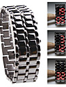 Black Metal Strip Digital Lava Style Iron Sport Womens Red LED Faceless Wrist Watch