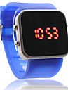 Silicone Band Women Men Unisex Jelly Sport Style Square Mirror LED Wrist Watch - Blue