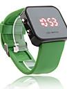 silicone banda mulheres homens unisex geléia estilo esporte espelho quadrado levou Relógio de pulso - verde