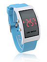 Unisex Red LED Digital Rectangle Case Blue Silicone Band Wrist Watch Cool Watch Unique Watch