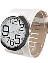 Women\'s Big Numbers Dial White PU Band Quartz Analog Wrist Watch
