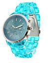 Модные кварцевые наручные часы на ярко-голубом пластиковом ремешке