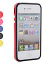 weichen Silikon-Stossfaenger Frame Case fuer iPhone 4, 4s (Metall-Knopf)