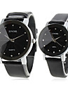 Couple's Black Dial Pu Band Quartz Analog Wrist Watches (1-Pair) Cool Watches Unique Watches