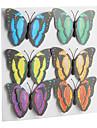 novidade coloridas borboletas imas de geladeira em forma de adesivos (6-pack)